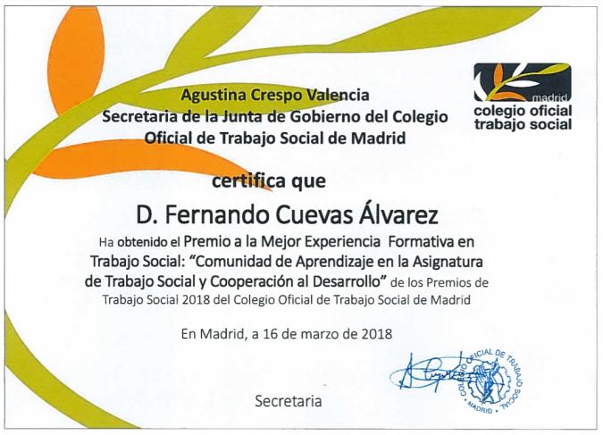 Mejor Experiencia Formativa en Trabajo Social 2018